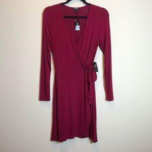 Express Burgundy Wrap Dress